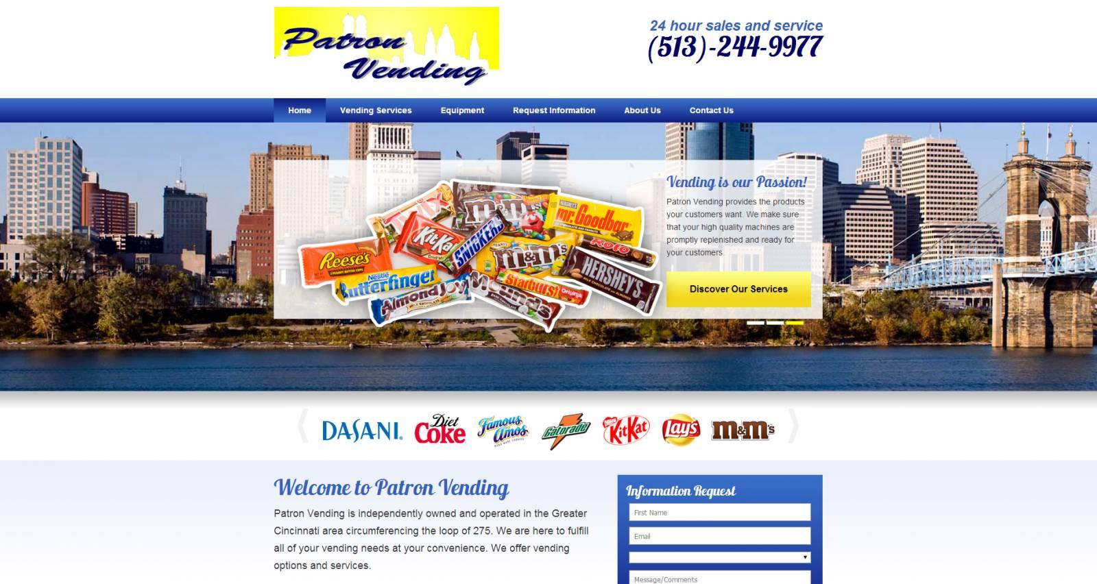 Patron Vending Home page