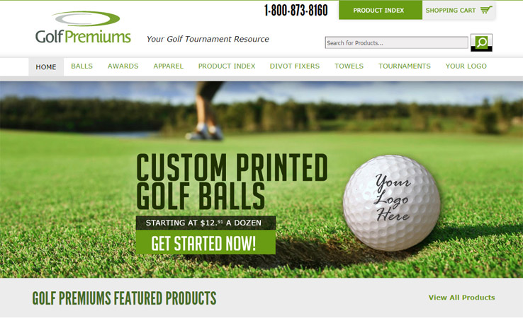 website design golf premiums