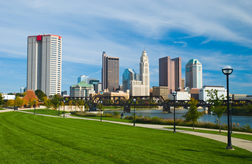 Columbus downtown, river, bridge, community, and park