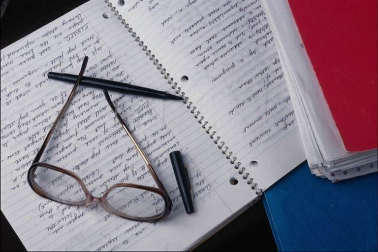 Notebook and glasses view