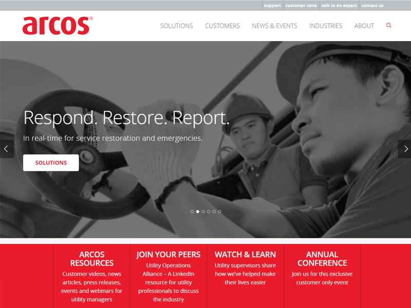 Arcos website design and launch - home page