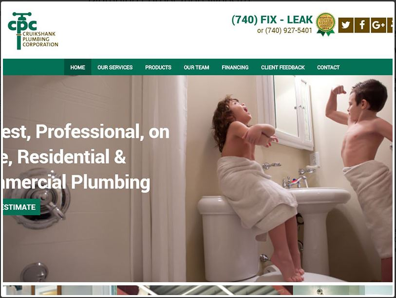 Plumbing Website Design and Launch landing page