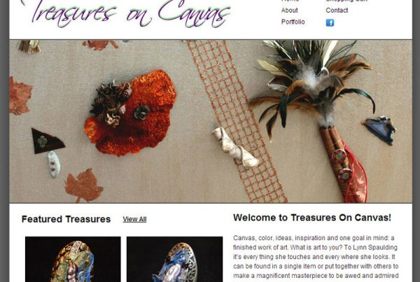 treasures on canvas ecommerce website design
