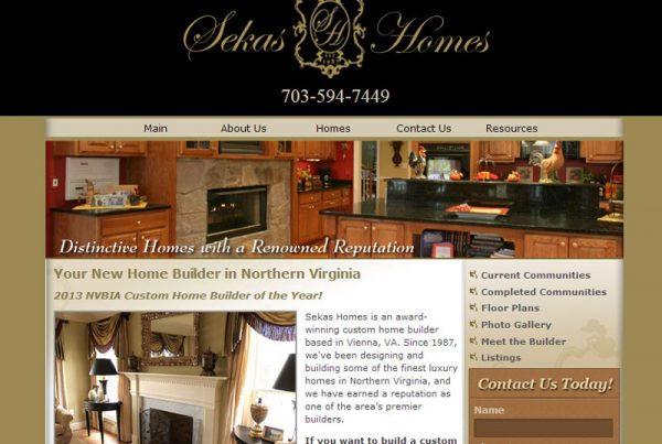 Sekas Homes real estate and high-end construction for homes business website