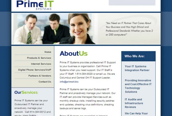 Prime It Systems business website to help you manage your network
