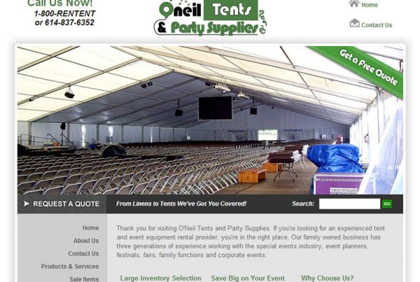 O'Neil Tents & Party Supplies Business Website