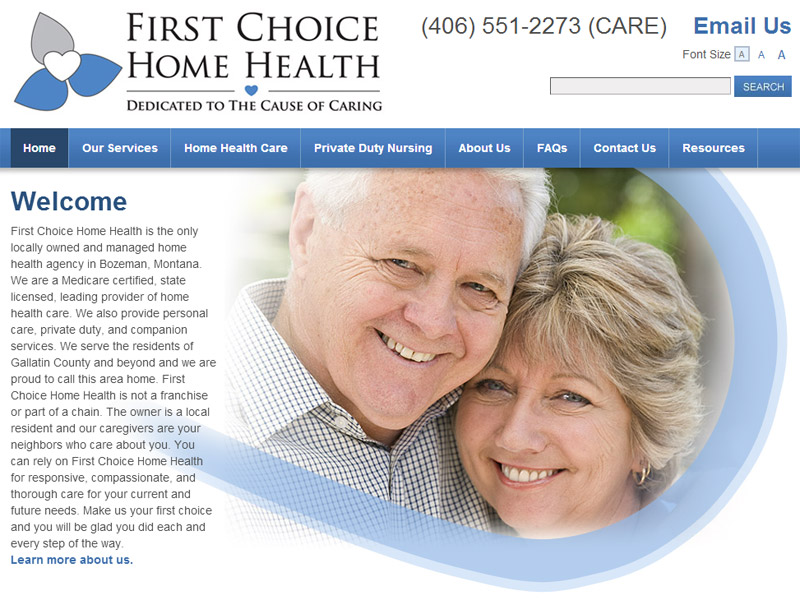 First Choice Home Health home health website for residents 55 and older
