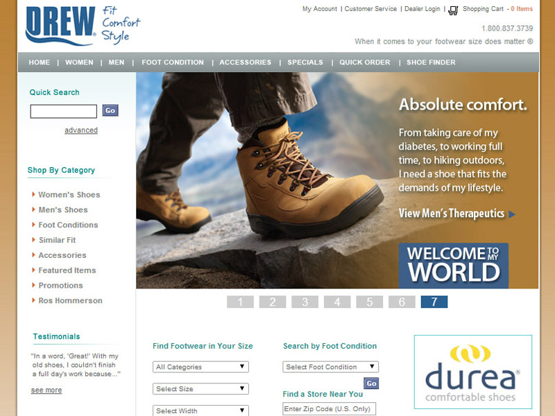 Drew Shoe footwear business website