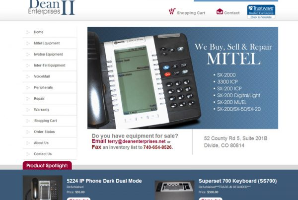 Dean Enterprises an ecommerce shopping cart website for mitel