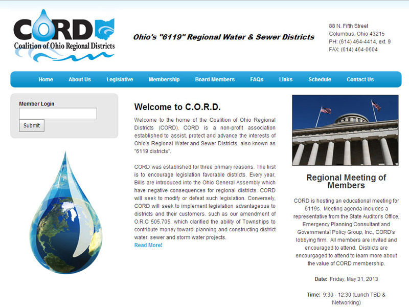 CORD coalition of ohio regional districts non-profit website