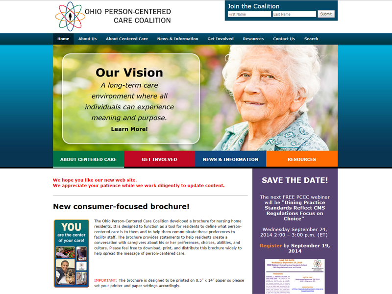 Ohio Person Centered Care Coalition - Charity Website