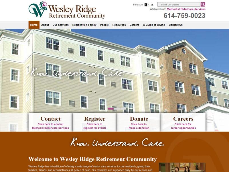 Wesley Ridge - Retirement Community Website