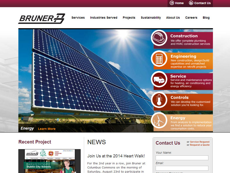 Bruner Corporation - Large Construction / Engineering Firm Website