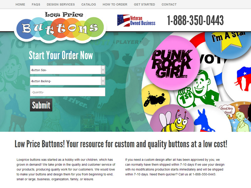 Low Price Buttons - Veteran Owned Button Creation Website