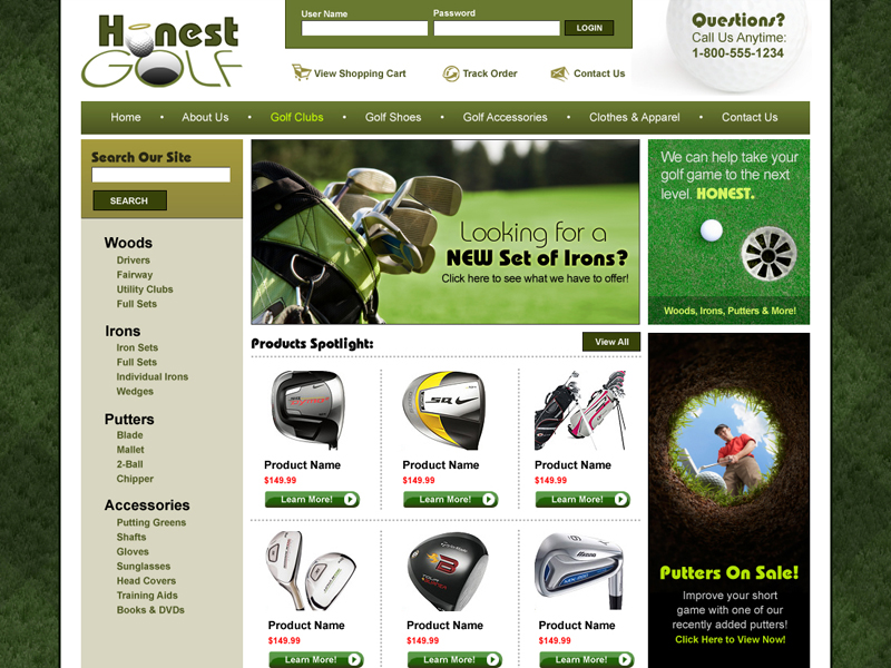 Honest Golf - Golf Shopping Cart Website
