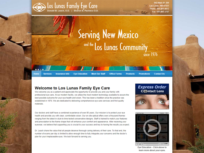 Los Lunas Family Eye Care - Family Business Website