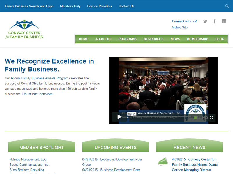 Conway Center for Family Business - Business Website