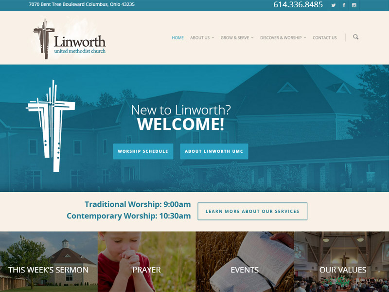Linworth United Methodist Church Website Design
