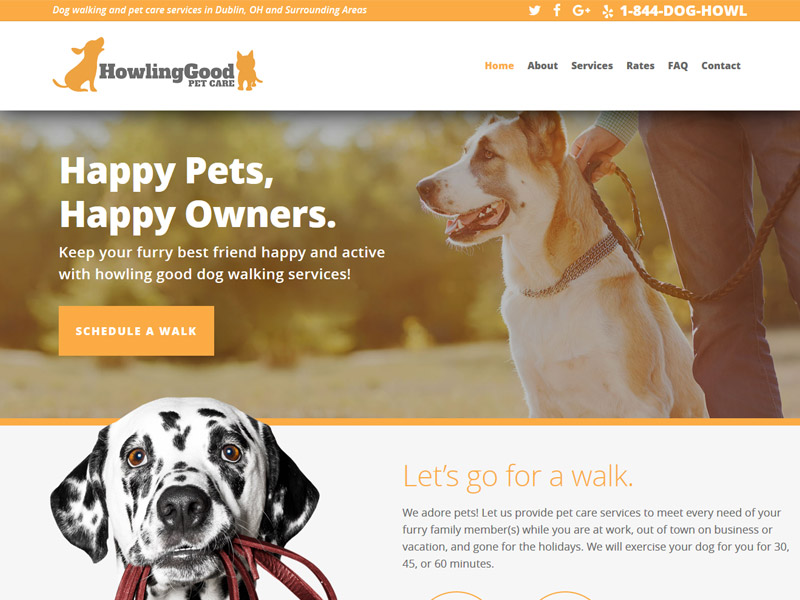 Howling Good Pet Care - Pet and Animal Care Website