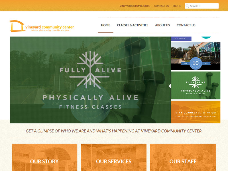 Vineyard Community Center - Online Registration Website Design
