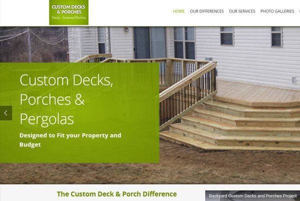 Custom Decks and Porches - Business Website
