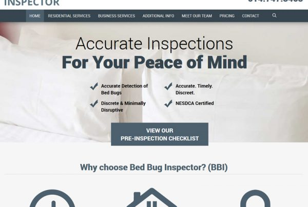 Bed Bug Inspector Business Website