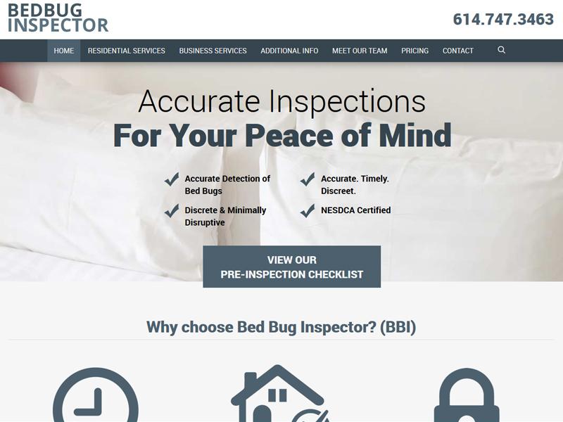 Bed Bug Inspector Business Website