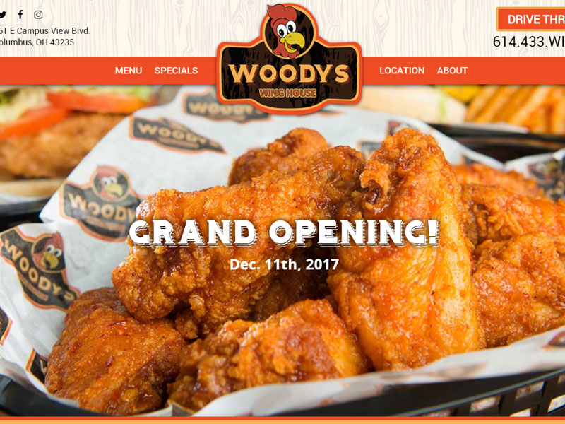 Woody's Wing House Restaurant Website