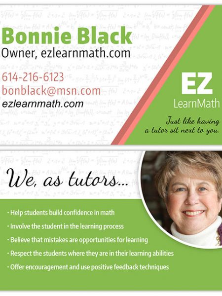 EZ Learn Math Business Card Design