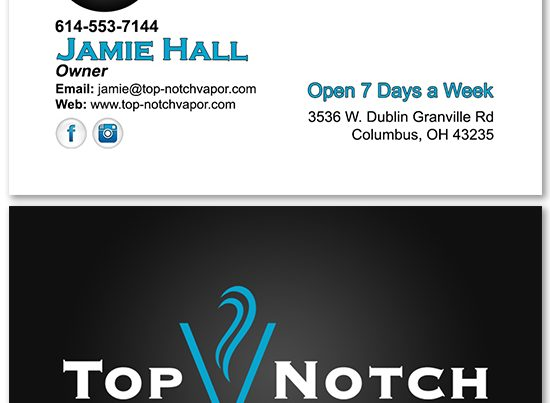 Top Notch Vapor Business Card Design