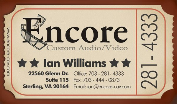 Encore Custom Audio/Visual Business Card