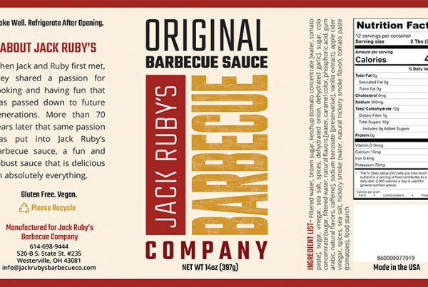 Jack Ruby's BBQ Sauce Company Printed Label