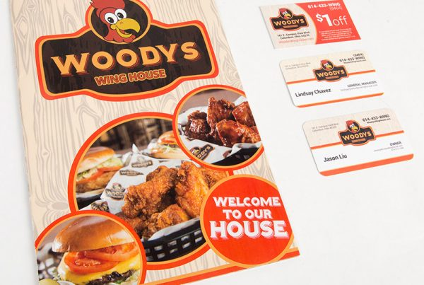 Woody's Wing House Menu and Business Cards & Print Design