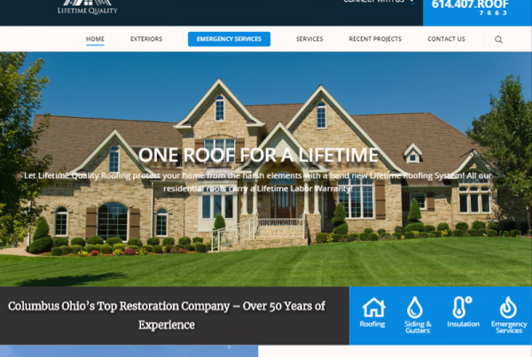 Lifetime Quality Roofing Website Design Wordpress