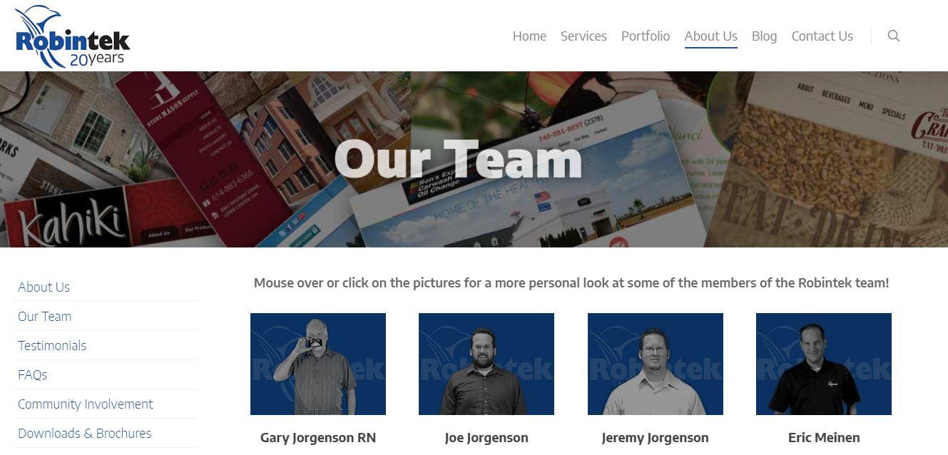 Robintek Website Team Page