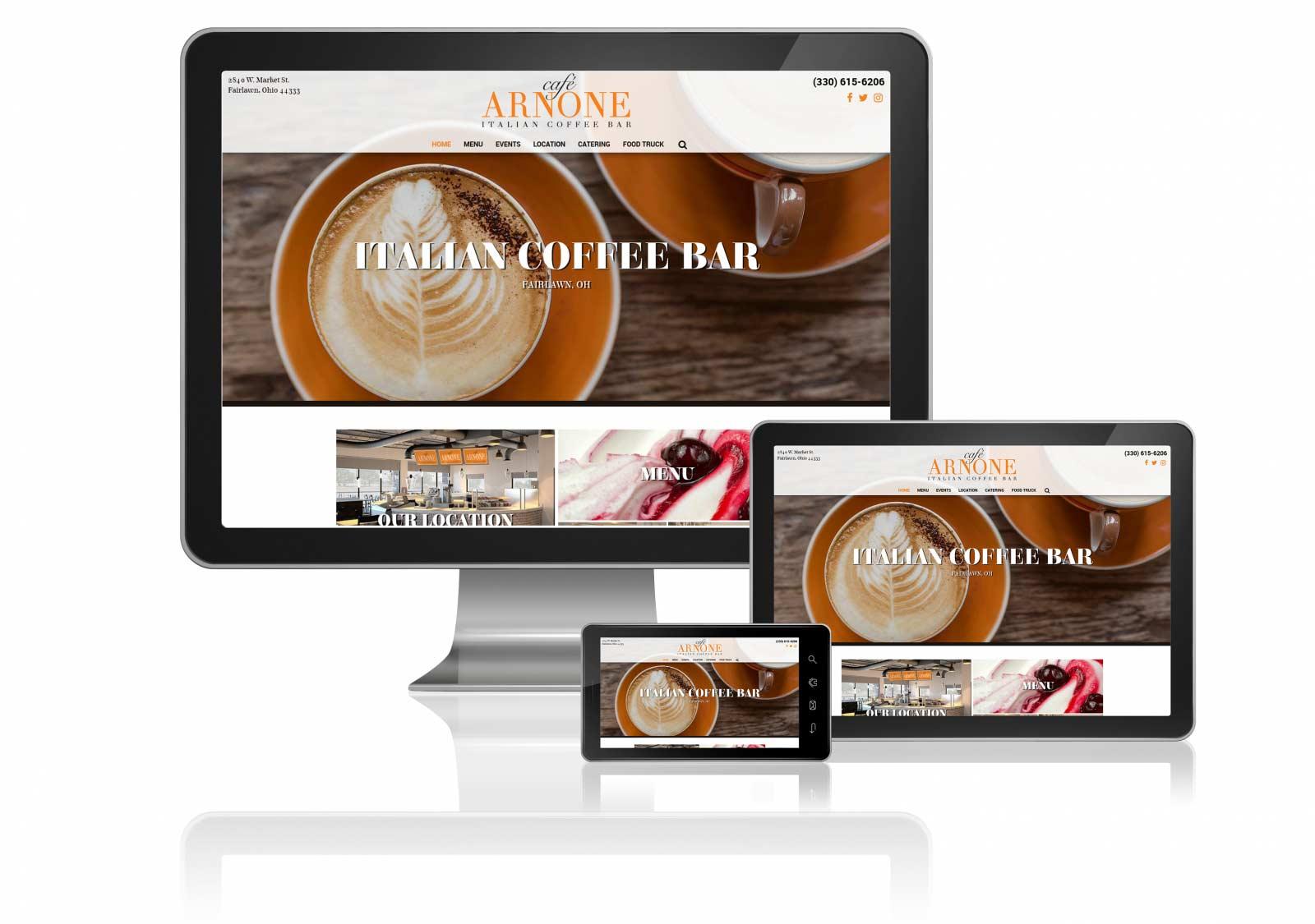 cafe arnone akron columbus custom website design