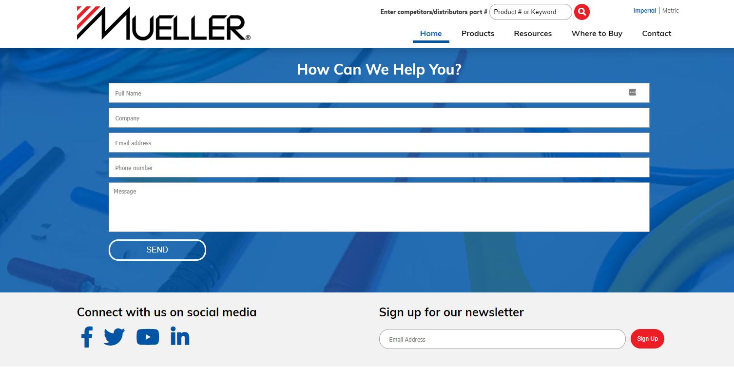 Mueller website contact us page