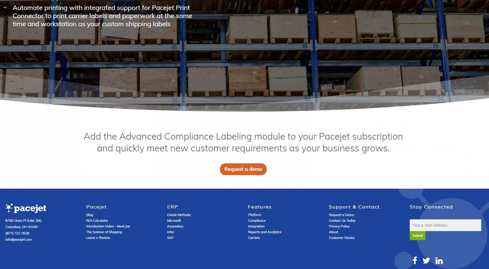 Pacejet website homepage