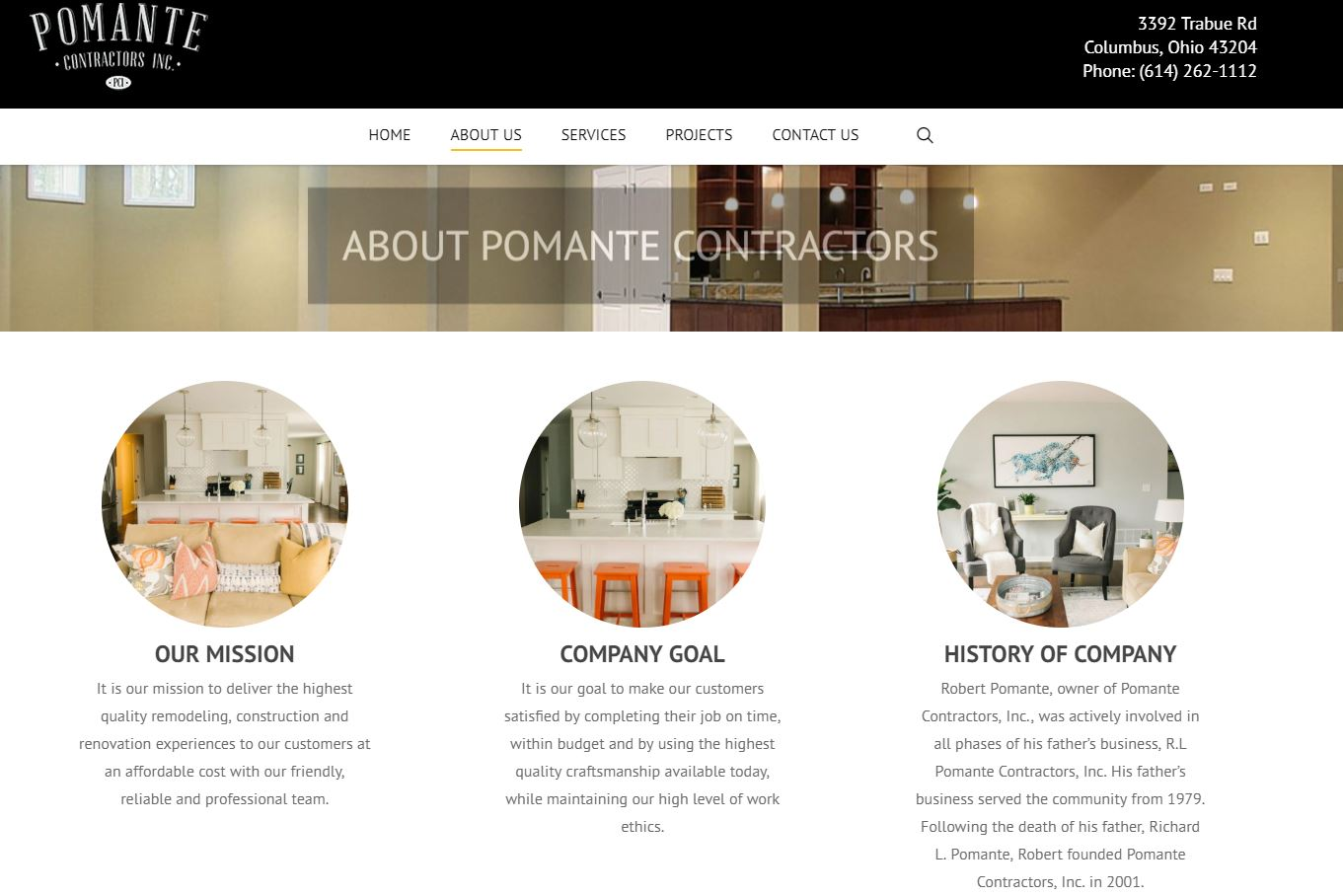 Pomante website about us page
