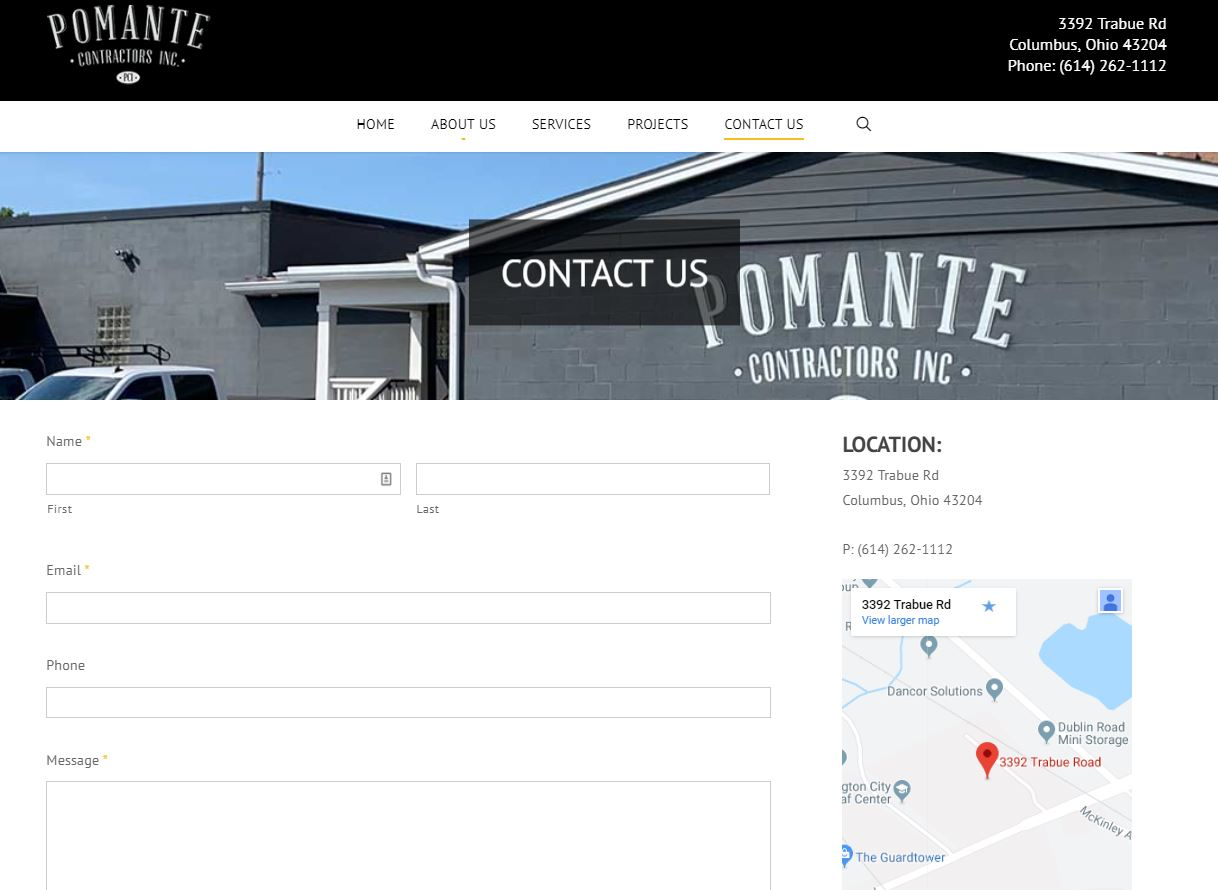 Pomante website contact us page