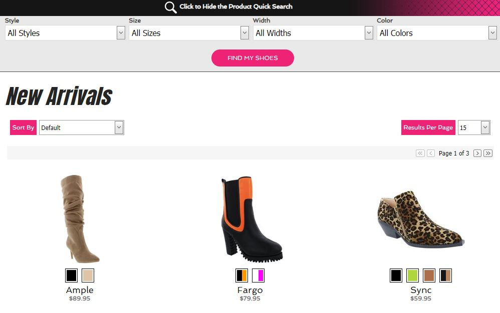 shoe website product page