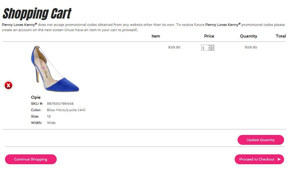 shoe website shopping cart