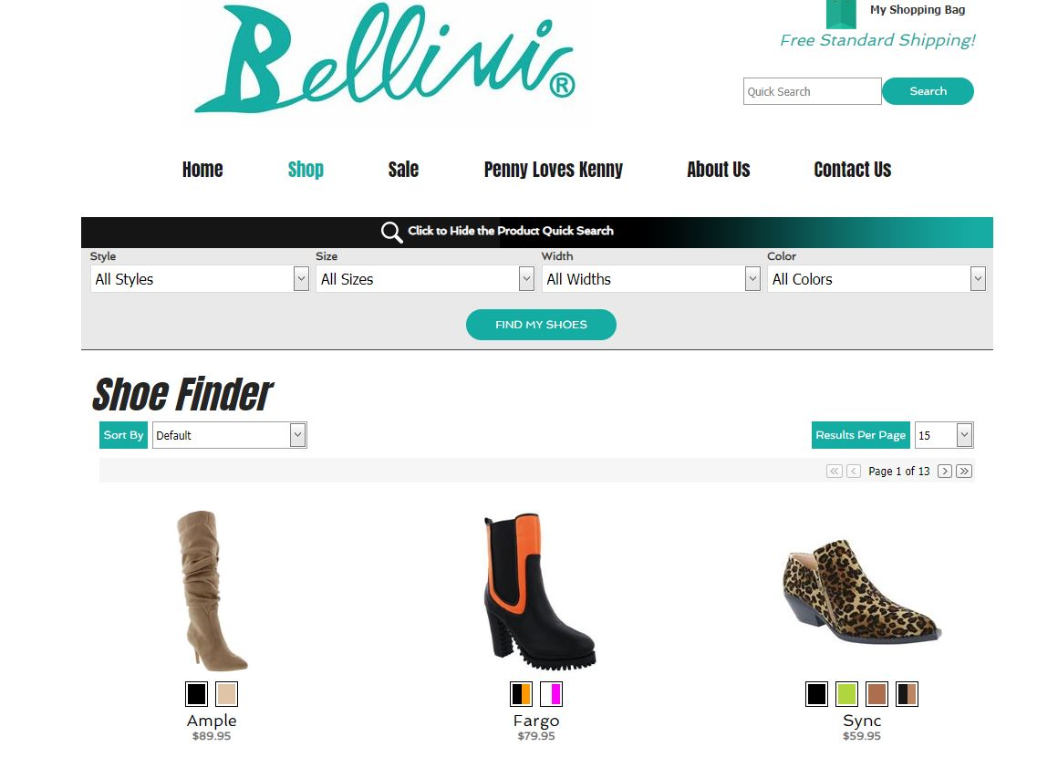 bellini shoes custom product search for ecommerce website