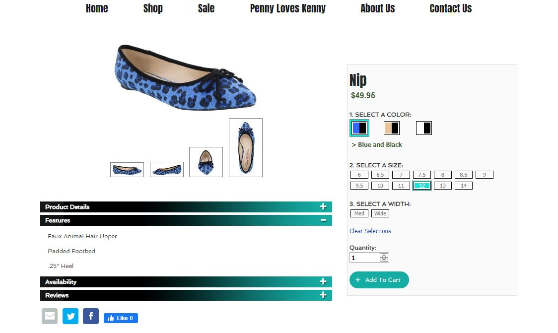 bellini shoes custom product color variations display for ecommerce website