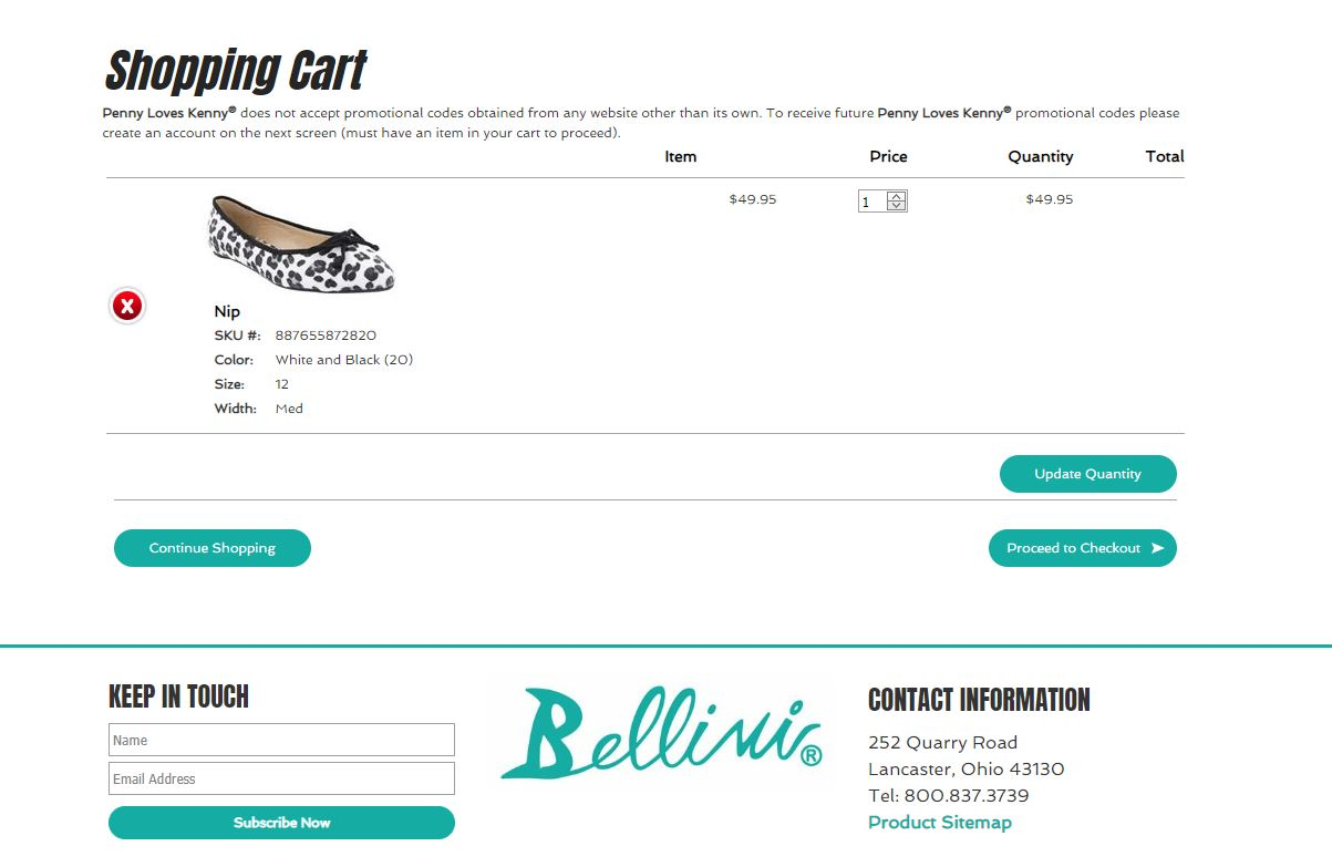 bellini shoes custom product shopping cart display for ecommerce website