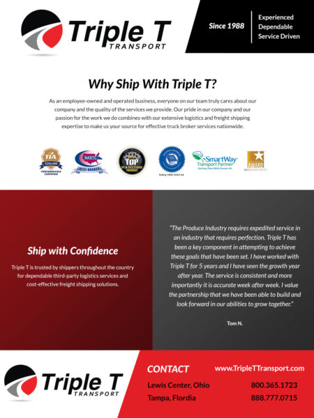 Triple T Custom graphic design for tradeshow flyer handout side 1