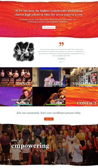 ACPA website home page layout design