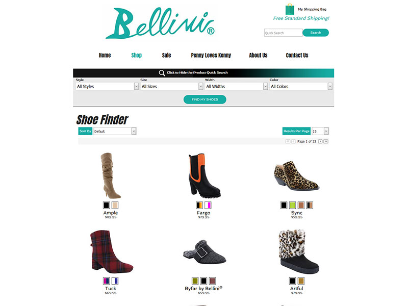 bellini shoes custom product search and filter for ecommerce website