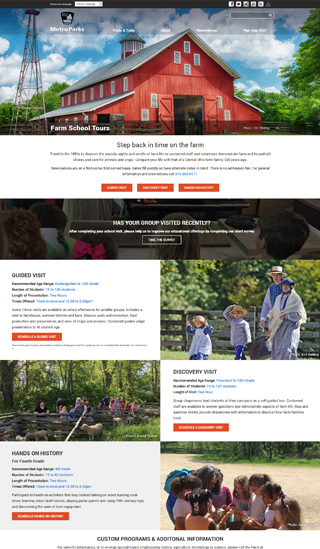 Metro Parks website Farm School Tours page layout design