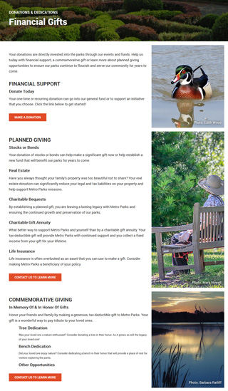 Metro Parks website Giving page layout design